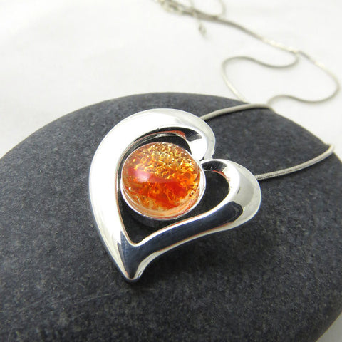 All the Feels - Fiery Orange Heart - Silver and Glass Necklace