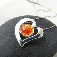 All the Feels - Fiery Orange Heart - Silver and Glass Necklace - Glass Elements - 1