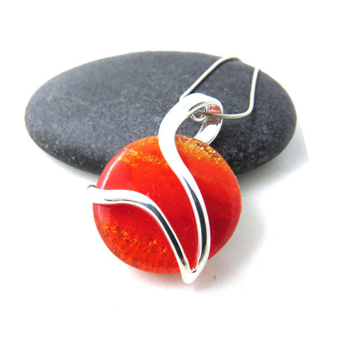 Fiery Orange Silver and Glass Necklace - Take Flight
