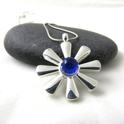 Cobalt Blue Spring Flower Necklace - Silver and Glass Necklace