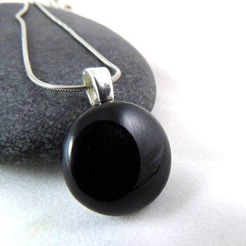 Little Black Pendant - Fused Glass Necklace