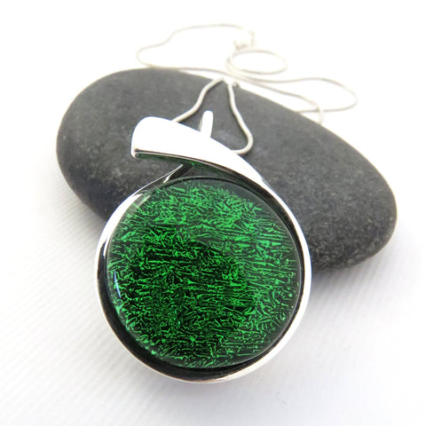 Emerald Green Meridian - Silver and Glass Necklace