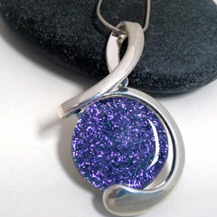 Bright Purple Treble Clef Inspired - Silver and Glass Necklace - Glass Elements - 1