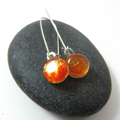 Flame Orange Earrings - Round Dangle