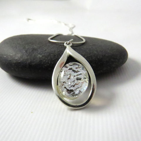 Petite Teardrop Silver and Glass Necklace - Silver Frost