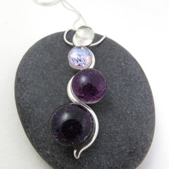Purple Ombre Cascade Necklace - Silver and Glass Necklace - Glass Elements - 1