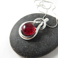 Candy Apple Red Endurance - Silver and Glass Necklace