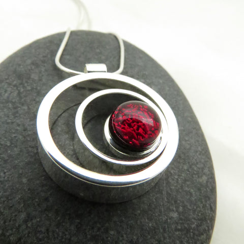 Ripple Effect - Garnet Red Silver and Glass Necklace