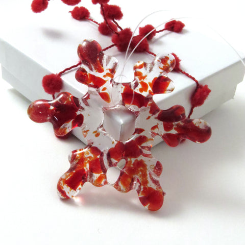 Glass Snowflake Christmas Tree Ornament - Red