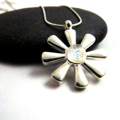 Silver Frost Flower Snowflake Necklace - Silver and Glass Necklace