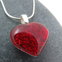 Vibrant Red Heart Necklace - Made to Order - Glass Elements - 1