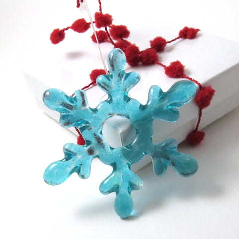 Glass Snowflake Christmas Tree Ornament - Turquoise