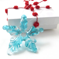 Glass Star Christmas Tree Ornament - Turquoise