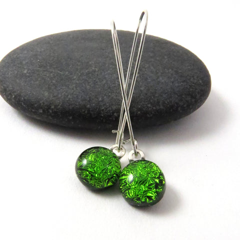 Vibrant Green Dangle Earrings - Fused Glass Earrings