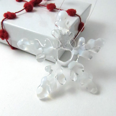 Glass Star Christmas Tree Ornament - White & Clear