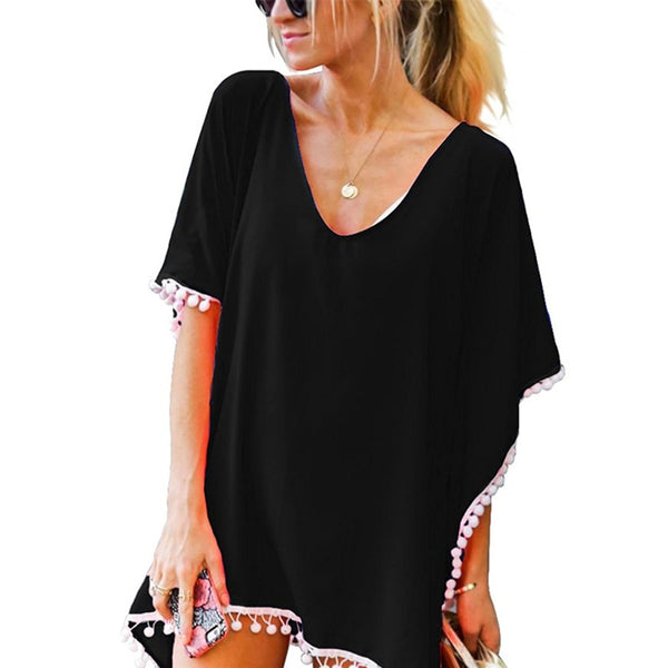 2018 Fashion Women Casual Tops Tassels Small White Ball Beach Free Size dress Blouses Bikini Sunscreen Women Covered Up Clothes