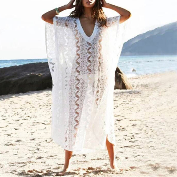 2019 New Beach Cover Up Bikini Crochet Women Loose Beachwear Summer Swimsuit Cover Up Sexy See-through Beach Lace White Cover Up