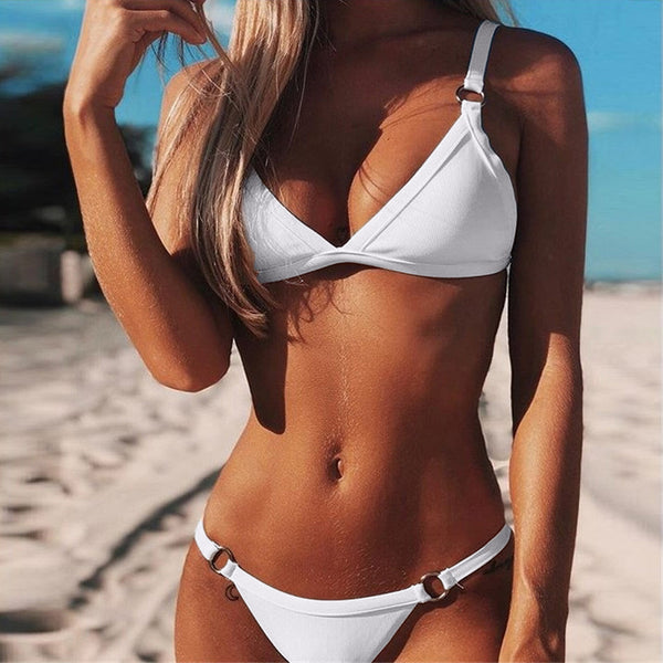 Bikini 2019 Sexy Women Bandeau Bandage Bikini Set Push-Up Brazilian Swimwear Beachwear Swimsuit Patchwork Beachwear Biquini Hot