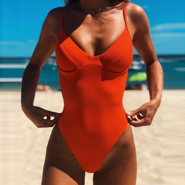 Hot Sale Fashion Sexy One Piece Suit Solid Jumpsuit Beachwear Swimwear Halter Femme Push-up Bikini Bathing Women#sh