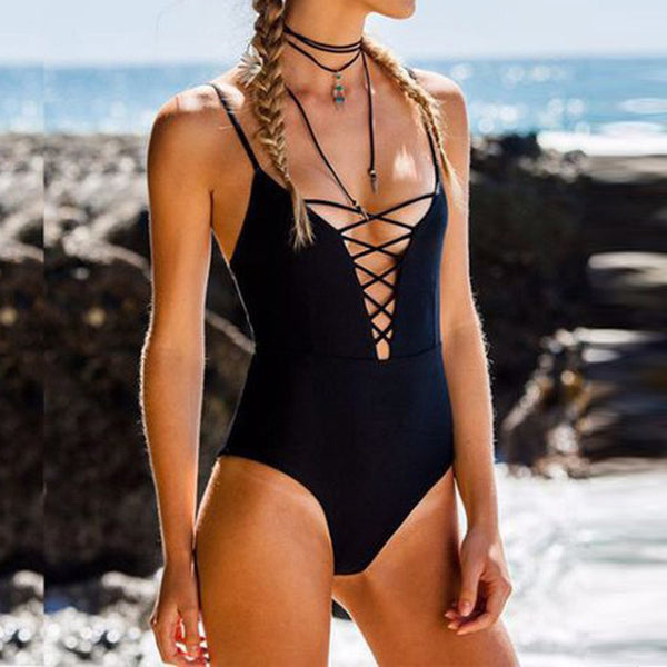 Women Printed Halter Swimsuit Push Up Padded Bikini Mujer 2019 Swimwear Bathing One Piece Suit Trajes De Bano Bikinis#es