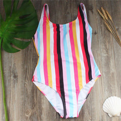Women Stripe One Piece Suit 2019 Sexy Print Swimwear Thong Bikini Set Push-Up Padded Swimsuit Beachwear Swimming Suit#ew