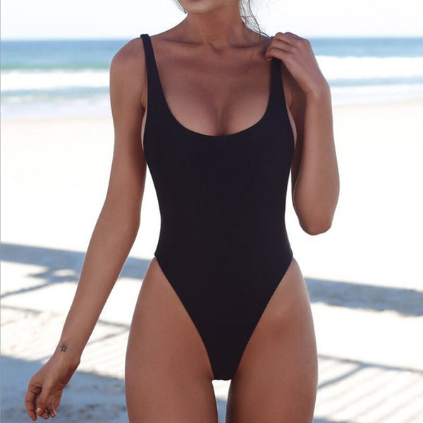 Women Swimwear Bikini Solid One Piece Suit Push-Up Padded Bathing Thong Backless Beachwear Halter Bikinis Femme Swimsuit#w