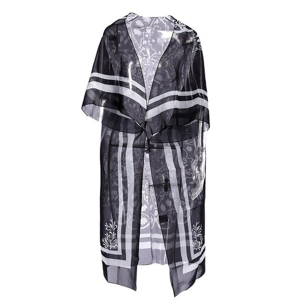 beach pareo Cover Uos Women Printed style long beach coat loose cardigan bikini blouse sun protection shirt plus size cover up