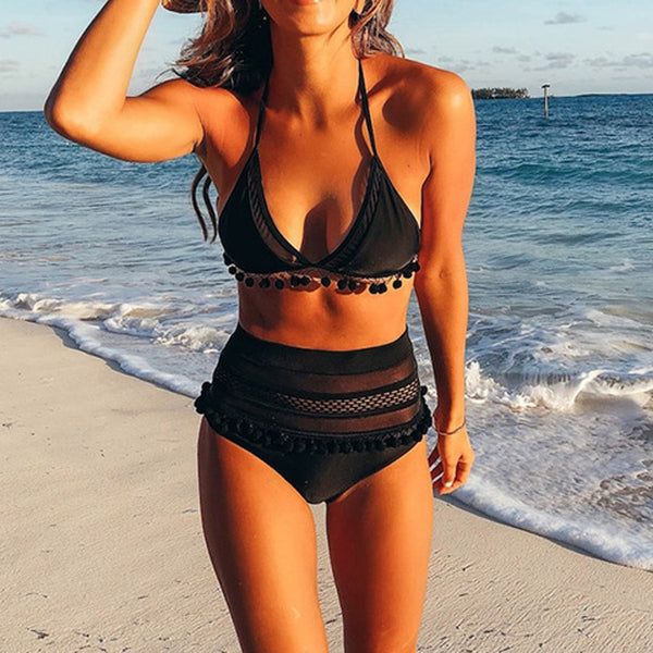 bikini 2019 Bikinis Set Sexy Swimwear Women Solid Mesh Hairball Swimsuit Push Up Bikini Sexy bikini Set swimsuit Summer @28