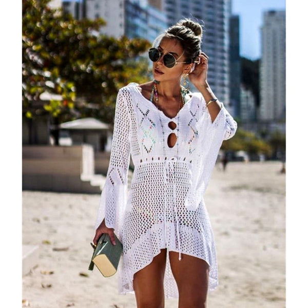 2019 Women  Hollow Beach Holiday Knitted Blouse Hook Flower Bikini Sunscreen Shirt