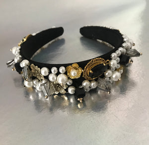 Khloe black and gold jewel headband