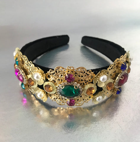 Harmony baroque jewel crown headband