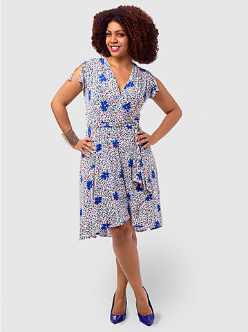 Jersey Wrap Dress With Flutter Sleeve