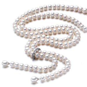 Her Shop accessories white pearl 100% Genuine Freshwater Pearl Necklace
