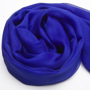 Her Shop accessories Sapphire / 200CMX140CM 100% Natural Silk Long Georgette Scarf