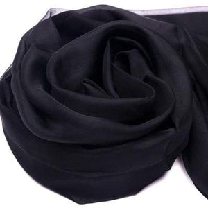 Her Shop accessories Black / 200CMX140CM 100% Natural Silk Long Georgette Scarf