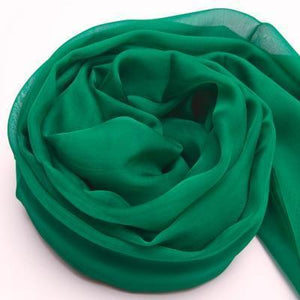Her Shop accessories Green / 200CMX140CM 100% Natural Silk Long Georgette Scarf