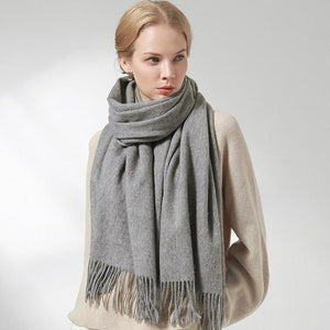 Her Shop accessories Grey / 180x60cm 100% Pure Wool Scarf