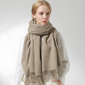 Her Shop accessories Light Coffee / 180x60cm 100% Pure Wool Scarf