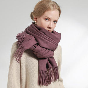 Her Shop accessories Grape Purple / 180x60cm 100% Pure Wool Scarf