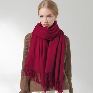 Her Shop accessories Wine Red / 180x60cm 100% Pure Wool Scarf