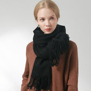 Her Shop accessories Black / 180x60cm 100% Pure Wool Scarf