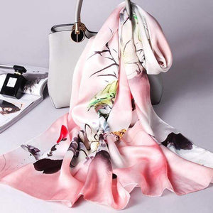 Her Shop accessories Color 9 / 170X53CM 100% Real Silk Scarf