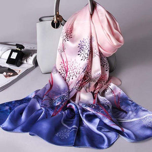 Her Shop accessories Color 14 / 170X53CM 100% Real Silk Scarf