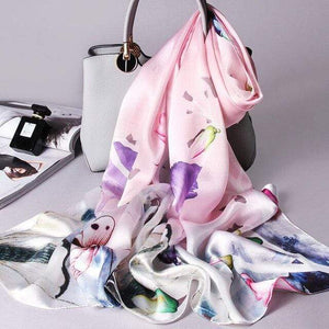 Her Shop accessories Color 10 / 170X53CM 100% Real Silk Scarf