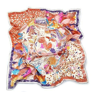 Her Shop accessories PURPLE Best Quality 100% Real Silk Scarf Women Nepal Birds Graffiti Square Scarves
