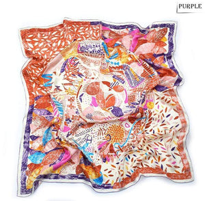 Her Shop accessories Best Quality 100% Real Silk Scarf Women Nepal Birds Graffiti Square Scarves