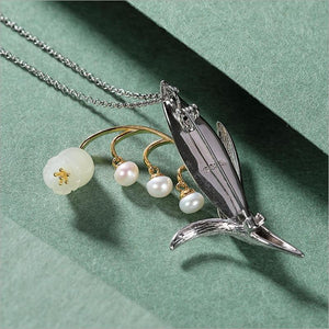 Her Shop accessories Dual-use Natural Jade Pearls Lily of the valley Brooch / Pendant