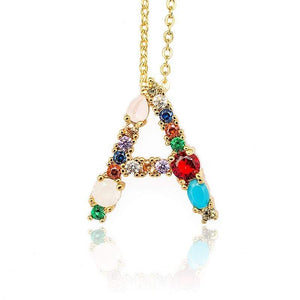 Her Shop accessories Gold Color Initial Multi-color Necklace For Women Accessories Girlfriend Gift