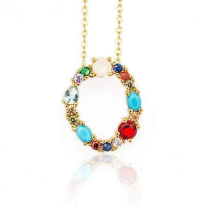 Her Shop accessories O / 45CM Gold Color Initial Multi-color Necklace For Women Accessories Girlfriend Gift