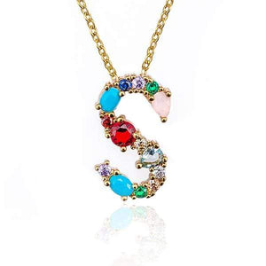 Her Shop accessories S / 45CM Gold Color Initial Multi-color Necklace For Women Accessories Girlfriend Gift